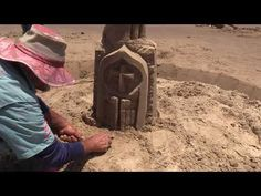 Sandcastle Shaping -How to carve Amazing large doors on a Sandcastle South Padre Island, Castle, Carving, Doors, Amazing, Wood Carvings, Castles, Sculptures, Printmaking