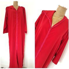 Vintage Caftan Hoodie Dress One Size Plus Red Lounge Kaftan Robe Gown #Unknown #Casual