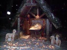 Outdoor nativity scene.