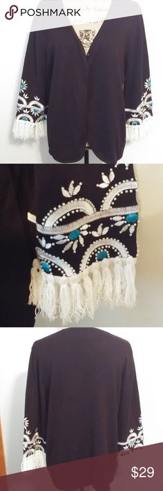 """BOB MACKIE BLACK EMBROIDERED BEADED SWEATER SZ LG BOB MACKIE WEARABLE ART BLACK EMBROIDERED AND BEADED SWEATER SIZE LARGE  BEAUTIFUL TURQUOISE AND WHITE EMBROIDERED 3/4 SLEEVE ENDS WITH WHITE BEAD TRIM.  WHITE KNIT TRIM AT SLEEVE ENDS WITH 2"""" FRINGE. 3 BUTTON FRONT TOP CLOSURE. UP TO 38"""" BUST AND WAIST X 27"""" LONG.   IN EXCELLENT CONDITION Bob Mackie Sweaters Cardigans"""