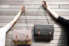 Tweed messenger bags in Thistle Down Tweed and charcoal herringbone tweed. Both designed by Emma Cornes in 2013