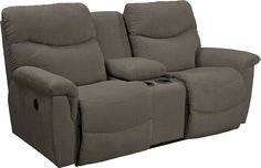 James Power La-Z-Time Loveseat with Middle Console (granite fabric)