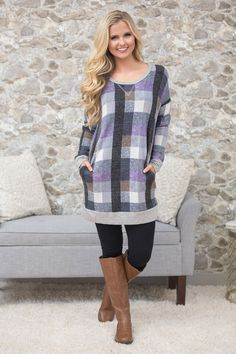 In For The Night Plaid Tunic CLEARANCE - The Pink Lily