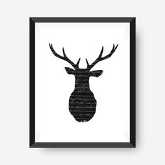 Instant Download French Script Deer Deer Head Wall by paperieNOLA