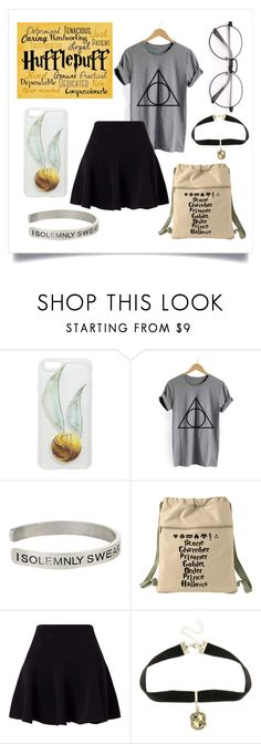 """HUFFLEPUFF POWER"" by smokeybill ❤ liked on Polyvore featuring WithChic, Warner Bros., Traits, Miss Selfridge, harrypotter, nerd, Fan and Hufflepuff"