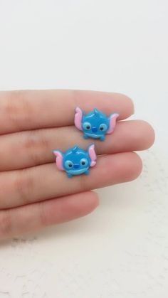 Stitch Inspired Tsum Tsum Stud Earring - Polymer Clay Charm, Stud Earrings, Disney Charm, Tsum Tsum earring, Gift for Her