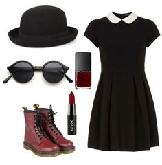 #style, #clother, #cute, #glasses, #hat, #dress, #grunge, #outfit, #redlipstick, #lipstick, #shoes,