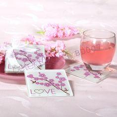 زهر الكرز love الزجاج كوستر( مجموعة من 2)