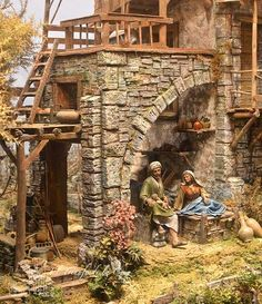 MANUALIDADES Y NAVIDAD: Casas tipo hebreo para belenes Christmas Nativity Scene, Nativity Crafts, Christmas Art, Christmas Projects, Christmas Decorations, Architectural Sculpture, Fairy Garden Houses, Miniature Crafts, Historical Architecture