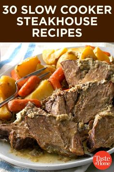 These innovative slow cooker recipes use ingredients you'd see on the menu of your favorite steakhouse. Crock Pot Cooking, Crockpot Meals, Freezer Meals, Slow Cooker Recipes, Cooking Recipes, Boneless Pork Roast, Swiss Steak, Free Meal Plans, Beef Recipes For Dinner