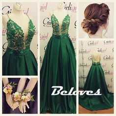 Dark Green Satin Deep V Neck Prom Gown With Spaghetti Straps