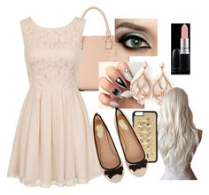 """""""Kim School 1"""" by luvlieguhh ❤ liked on Polyvore featuring MAC Cosmetics, Shaun Leane, Dolce&Gabbana, Chi Chi and Oasis"""