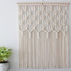 Define Beauty macrame wall hanging. The name says it all, this pattern is dreamy! Hand made from natural cotton rope. We take all custom orders…
