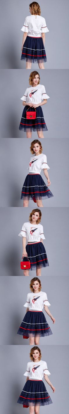 High Quality 2017 Shirt Runway Fashion Suit Set Women's 2 Piece White Embroidery Tops + Sexy Stripes Skirt Streetwear Casual Set