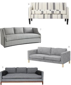 Modern Contemporary Sofas Gray Upholstery