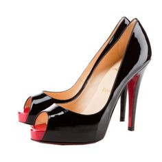 Christian Louboutin Very Prive Red and Black Peep Toe Pumps