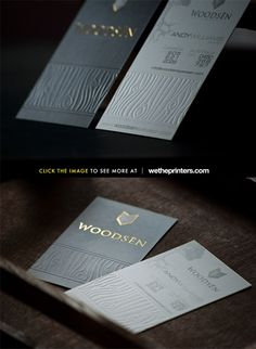 Woodsen  Embossed 16pt Silk Laminated Business Card with 1 Gold Foil and Embossing.
