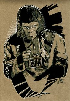 Everything about the mighty PLANET OF THE APES saga, from the original novel, via the classic films of the and right up to the 2011 reboot. Dawn Of The Planet, Planet Of The Apes, Horror Films, Horror Art, Pierre Boulle, Cinema Posters, Fantasy Illustration, Original Movie, Vintage Comics