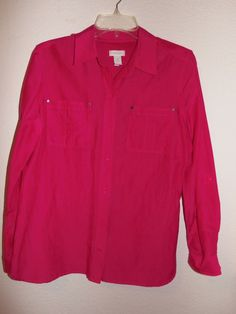 Chico's 1 Size S-M Hot Pink Cotton & Silk Adjustable Sleeves Blouse Shirt  #Chicos #Blouse #Career