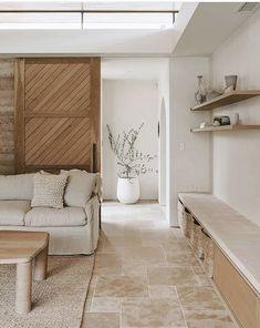 Home Living Room, Living Room Decor, Spa Like Living Room Ideas, Tile In Living Room, Earthy Living Room, Bedroom Decor, Barn Living, Decorating Bedrooms, Decor Room