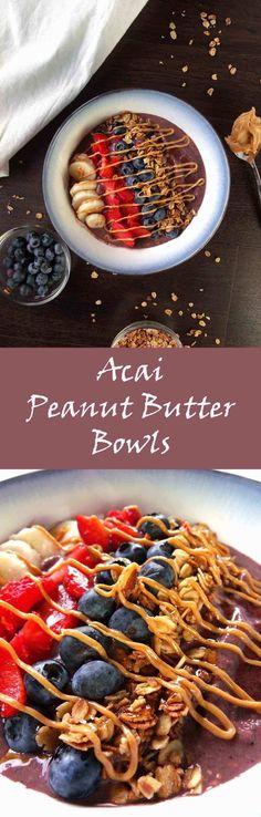 Acai Peanut Butter Bowl | Açaí Bowl | Smoothie Bowl | Protein Shakes | Protein Smoothies | Granola