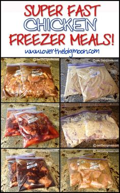 Super Fast Chicken Freezer Meals - 14 meals made in 1 1/2 hours! Teriyaki Chicken, French Chicken, Creamy Chicken Italian-O, Sweet BBQ Chicken, Cafe Rio Chicken, Garlic Lime Chicken and Worlds Best Chicken (Honey | http://breakybreakfasts.blogspot.com