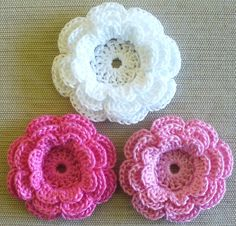 Small Crochet Flower Appliques ThreeLayer Flowers by IreneStitches