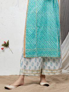 Turquoise Hand Block Printed Cotton Kurta with Palazzo - Set of 2 Latest Salwar Kameez Designs, Kurta Designs Women, Embroidery On Kurtis, Kurti Embroidery Design, Girls Dresses Sewing, Dresses Kids Girl, Frock Fashion, Fashion Pants, Simple Kurti Designs