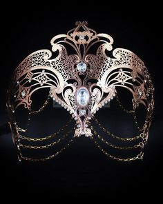 Gold goddess masquerade mask with chains, Venetian metal mask with crystals, MORE COLORS! Venetian Masquerade Masks, Elegant Masquerade Mask, Couples Masquerade Masks, Masquerade Costumes, Mask Painting, Beautiful Mask, Mask Party, Or Rose, Rose Gold