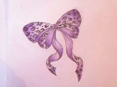 Purple Cheetah-Bow Tattoo Design