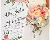 Hand Painted Floral Wedding Invitation with Mix of Peach Flowers & Hand Written Calligraphy