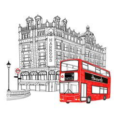 Zoe More OFerrall - Editorial and Commercial Illustrator, London London Illustration, Illustration Sketches, Book Illustrations, Drawing Skills, Line Drawing, Drawing Ideas, Harrods, London Drawing, Great Britain United Kingdom