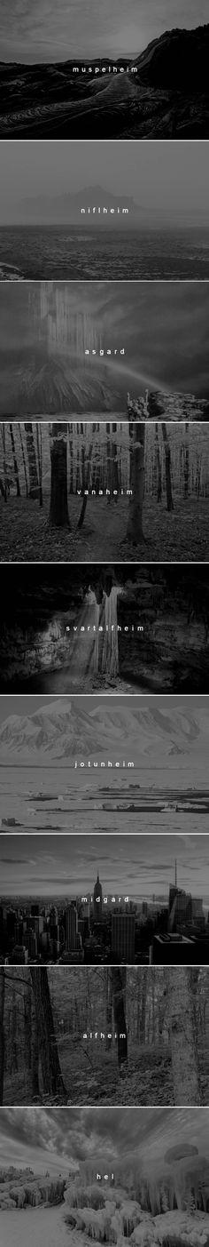 nine worlds of norse mythology | muspelheim, niflheim, asgard, vanaheim, svartalfheim, jotunheim, midgard, alfheim, hel