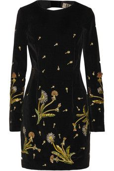 Topshop Unique Belgravia cutout embellished cotton-velvet mini dress | NET-A-PORTER