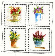 Art du Jour by Martha Lever: Pots of Flowers Paper Quilts