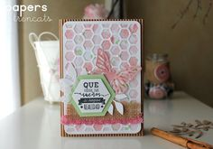 Raquel Papers Trencats: Sizzix: Deseos uses the Butterfly from the Big Shot Starter kit and the Hexagons.