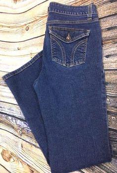 DKNY Soho Boot Cut Jeans Size 12 R Mid Rise Flap Pockets Dark Wash Denim W32 L32 #DKNY #BootCut