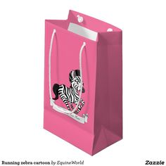 Running zebra cartoon small gift bag