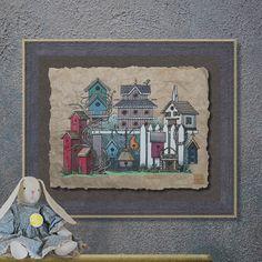 Nostalgic Cute Birdhouse Grouping Art Whimsical yesteryear print adds country garden art to wall decor as 8x10 or 13x19 farm art print