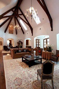 Luxury Living Room Vaulted Ceilings wood Tanglewood, Houston TX