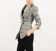 Urban  grey jacket with white and black dotted lining by EllaLai, $119.00
