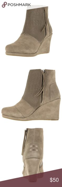 🎉SALE🎉 Toms Desert Wedge Croc Booties Toms Desert Wedge style booties with a croc feature! Brand new, and never been worn! These do not come with a box or tag. Such a cute style and color. Perfect for any occasion, style or season! These are a must have for your closet at such a great price! Please let me know if you have any questions! TOMS Shoes Ankle Boots & Booties