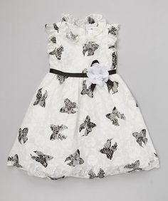 Another great find on #zulily! White & Black Butterfly A-Line Dress - Infant & Toddler by Joe-Ella #zulilyfinds