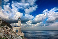 """The Lighthouse of Cavomalias"" by Hercules Milas   Redbubble Wow 2, Jpg, Hercules, Driftwood, Art Boards, Decorative Throw Pillows, Travel Mug, Greece, Scenery"