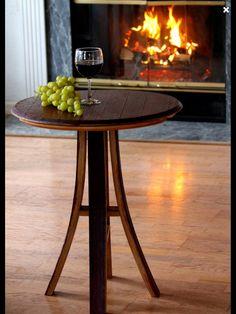 Wine Barrel Table Wine Barrel Bistro Table Wine by CRdezines Wine Barrel End Table, Wine Barrel Diy, Wine Barrel Chairs, Whiskey Barrel Furniture, Wine Barrels, Wood Barrel Ideas, Barris, Barrel Projects, Bourbon Barrel