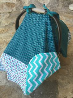 Teal aqua mint chevron and floral baby car seat by BBsBanners