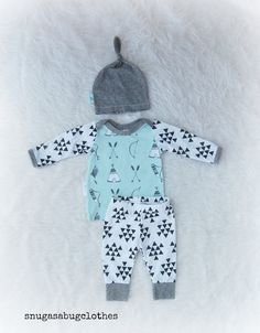Take Home Outfit Mint Bow & Arrow Newborn Baby Boy Set with Matching Beanie Knot Hat