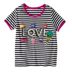 Lemondrop Girls Ringer Tee Shirt With Screen Print, Size: 6X, Black