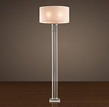 French Column Glass Floor Lamp Polished Nickel