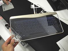 Glass keyboard prototype from japan Computer Keyboard, Cool Style, Cool Designs, Japan, Glass, Gadgets, Tech, Gadget